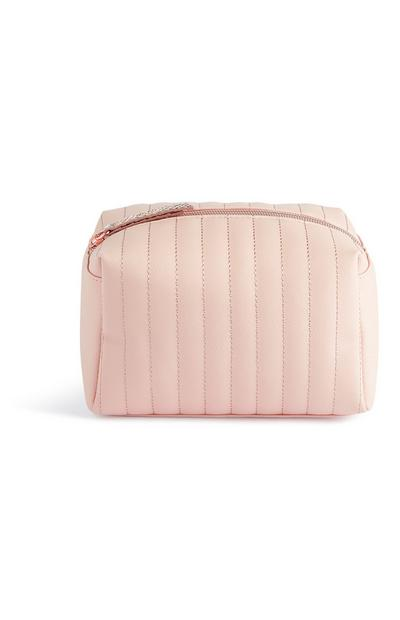 Pink Panel Stitch Makeup Bag