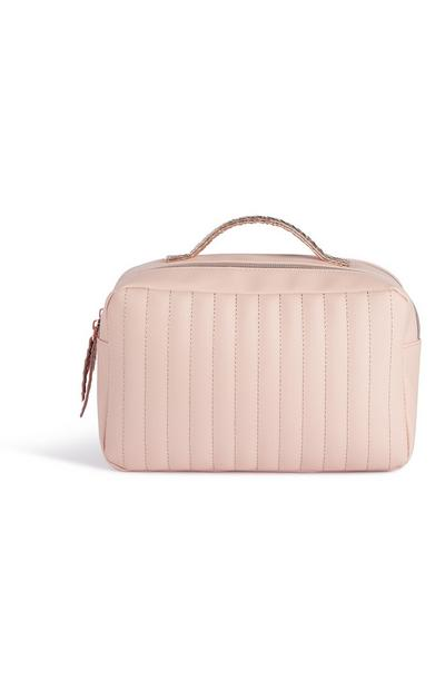 Pink Panel Stitch Toiletries Bag
