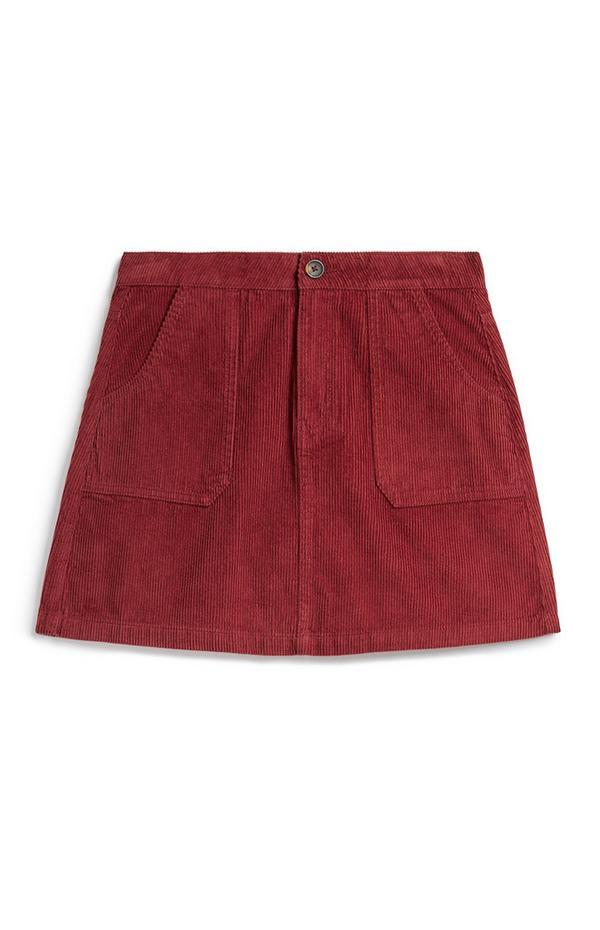 Jupe utilitaire rouge en velours côtelé