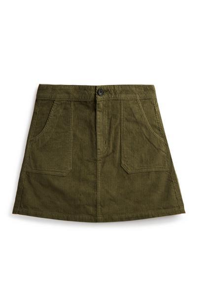Falda de pana verde