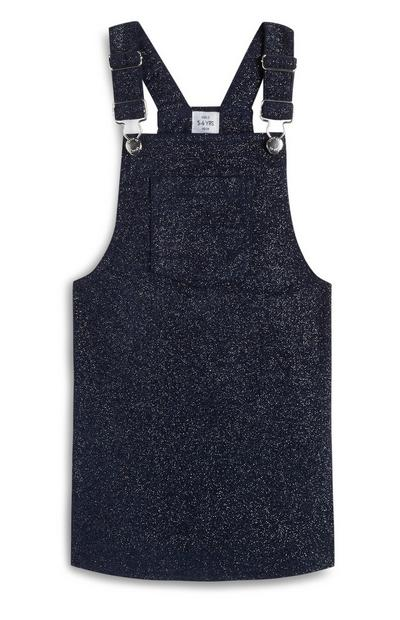 Younger Girl Navy Glitter Pinafore