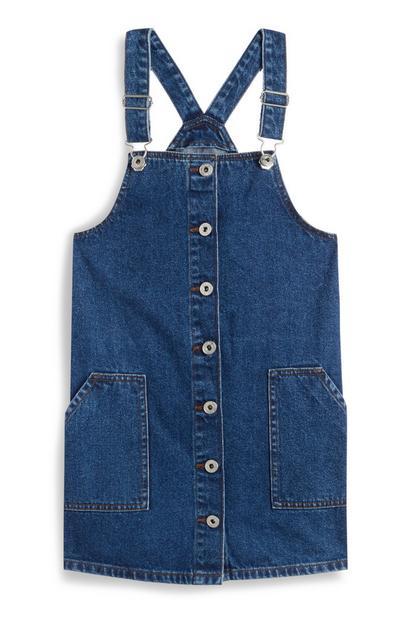 Indigoblaues Jeans-Latzkleid mit Knopfleiste (Teeny Girls)