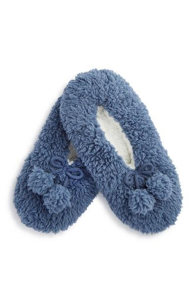Blue Teddy Slipper Socks