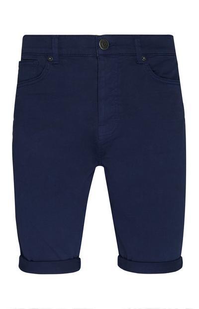 Navy Stretch Twill Cuffed Shorts