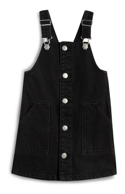 Younger Girl Black Button Up Pinafore
