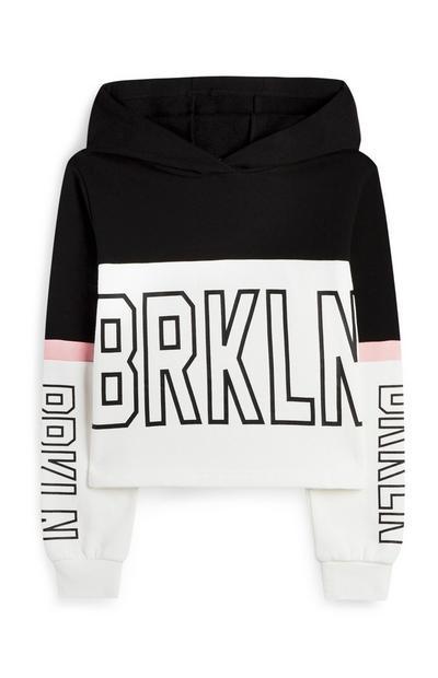"""Schwarz-weißer """"Brooklyn"""" Kapuzenpullover im Farbblock-Design (Teeny Girls)"""