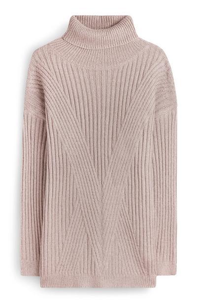 Nude Ribbed Longline Sweater