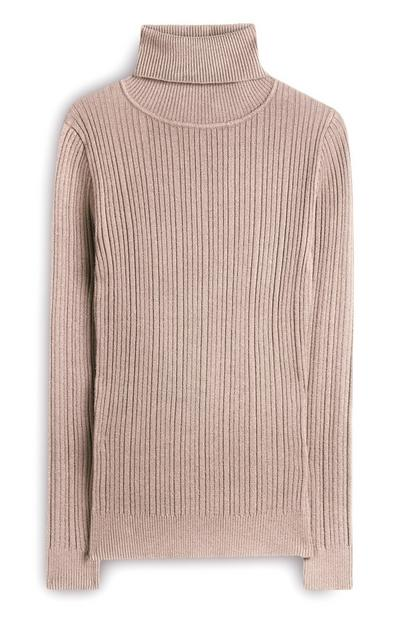 Soft Pink Ribbed Roll Neck Jumper
