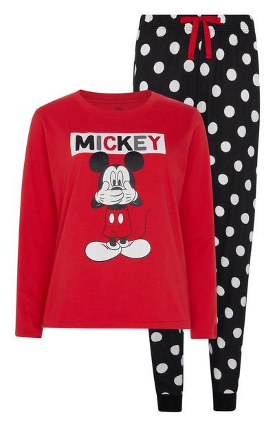 Haut de pyjama rouge Mickey Mouse et pantalon