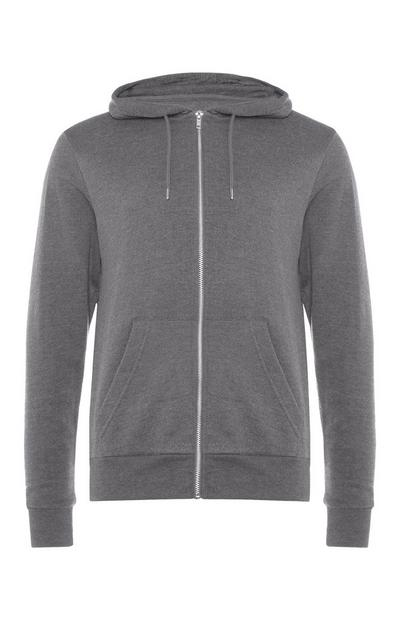 Sweat à capuche gris zippé