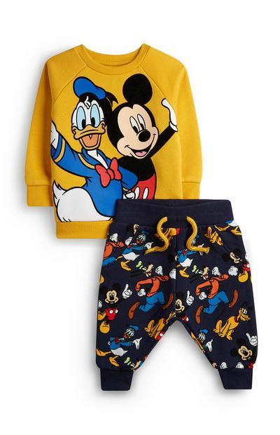 Mosterdgele babytrui en -joggingbroek Mickey & Crew voor jongens