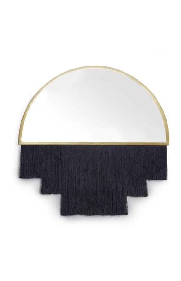 Navy Fringed Mirror