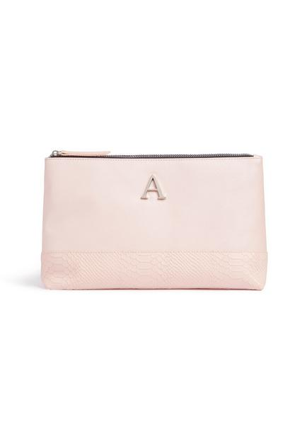 Pink Letter A Toiletries Bag