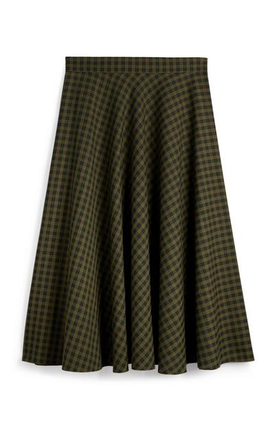 Green Check Pleated Midi Skirt