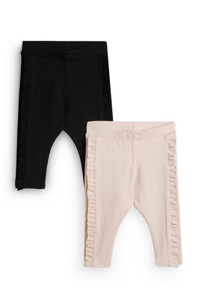 Baby Girl Black And Pink Leggings 2Pk