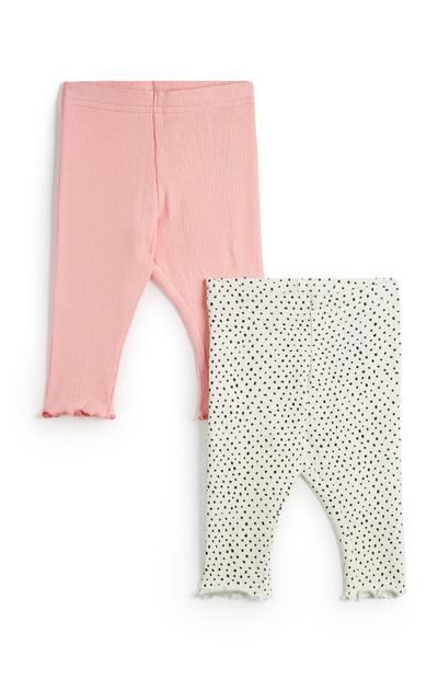 Baby Girl Grey And Pink Leggings 2Pk