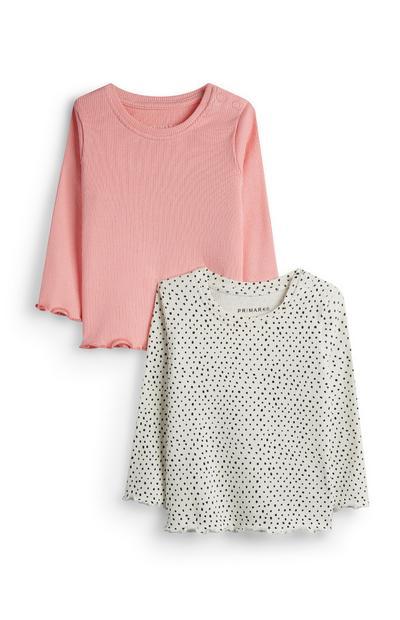Lot de 2t-shirts gris et rose bébé fille