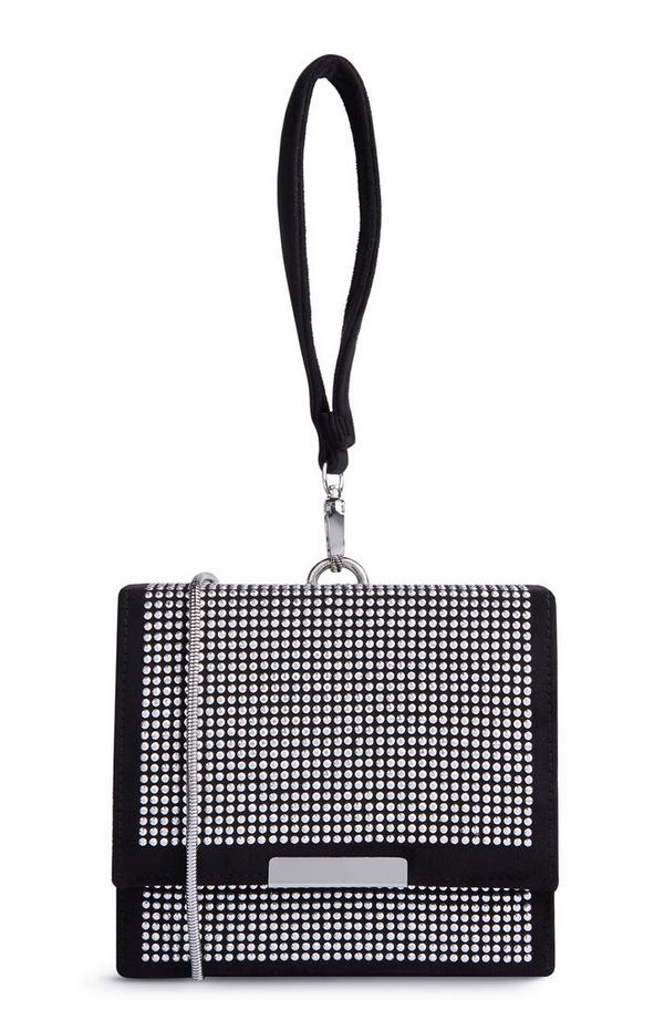 Schwarze kastenförmige Tasche mit Ziersteinen