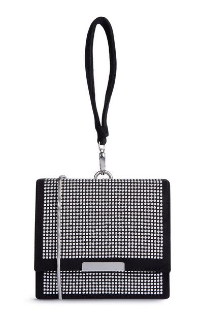 Črna kvadratna torbica z diamantki