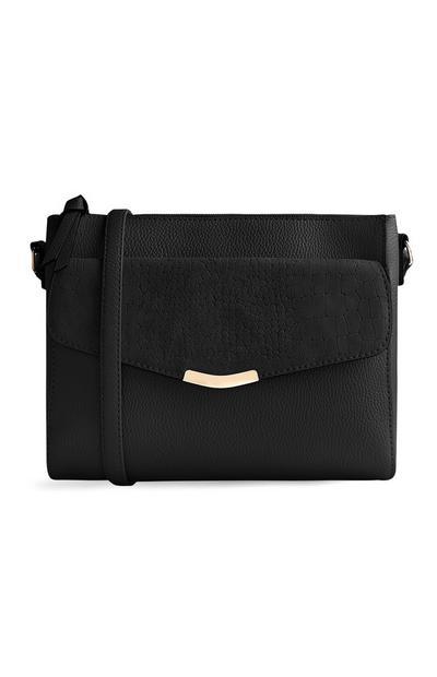 Bolso cruzado negro con bolsillo delantero