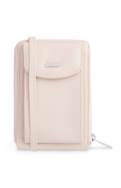 Miniborsa a tracolla color panna con portafoglio