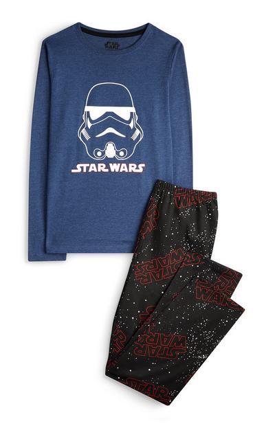 Older Boy Blue And Black Star Wars Pyjamas 2Pc