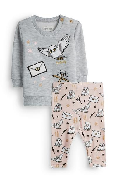 Baby Girl Harry Potter Gray Hedwig Sweater and Pink Leggings
