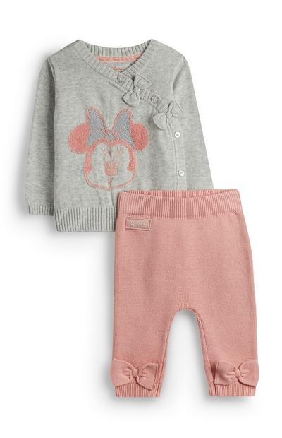 Grijze gebreide Minnie Mouse-babytrui en roze babylegging voor meisjes