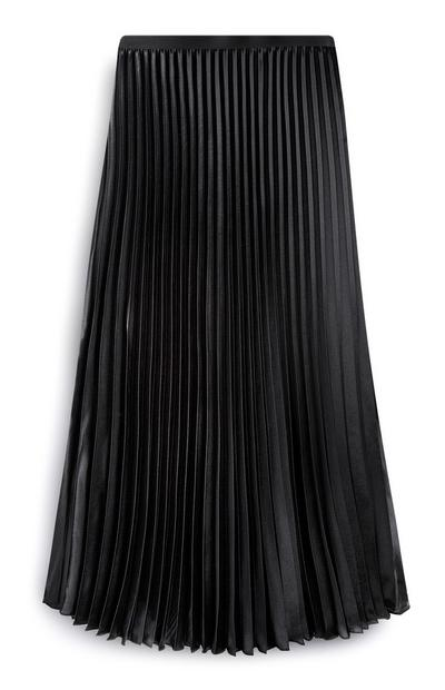 Zwarte geplooide halflange rok