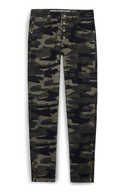 Kaki cargojeans met camouflageprint voor meiden