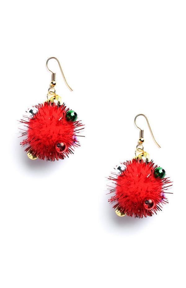 Kerstige oorbellen met pompons