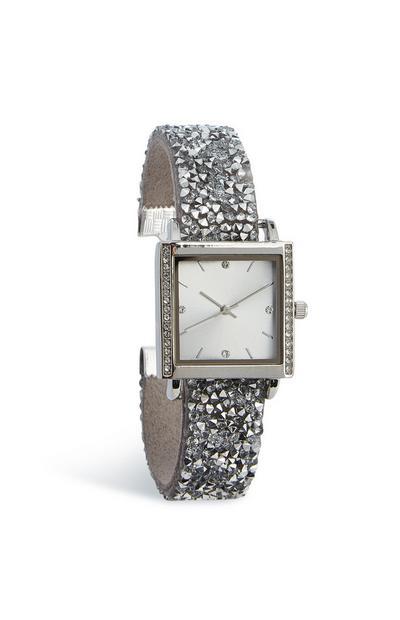 Vierkant horloge met steentjes