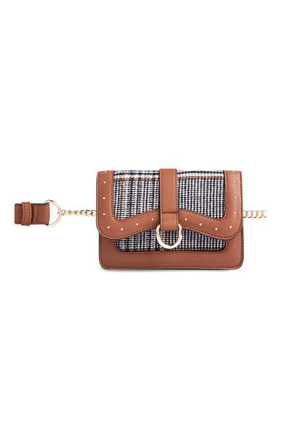 Brown Check Belt Bag
