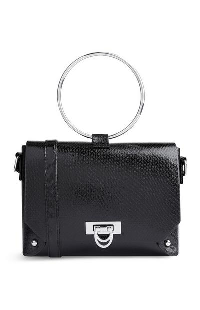 Black Glossy Ring Handle Bag