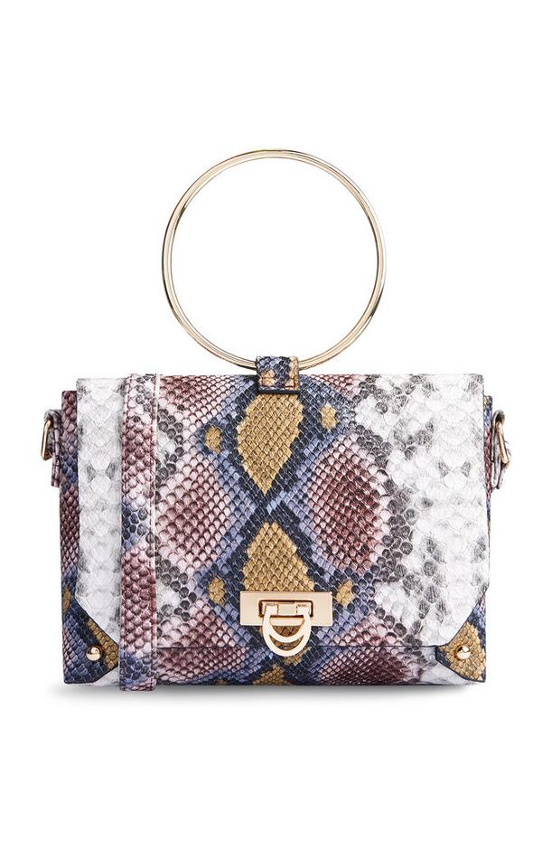 Snake Print Ring Handle Bag