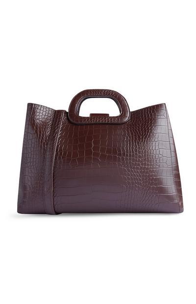Rjava nakupovalna torba s krokodiljim vzorcem