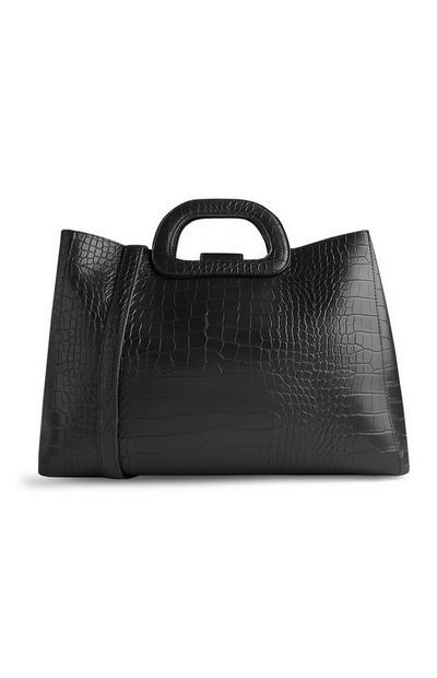 Črna nakupovalna torba s krokodiljim vzorcem