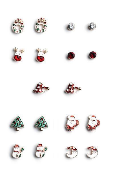 Christmas Stud Earrings 9Pk