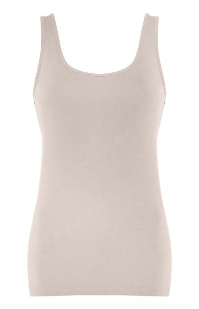 Camiseta sin mangas elástica de color crudo