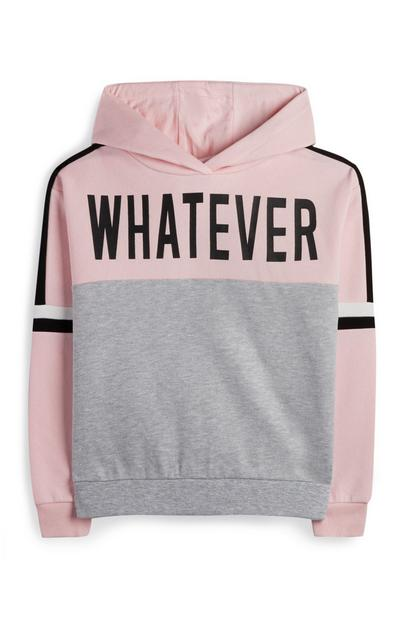 Older Girl Pink And Gray Whatever Hoodie
