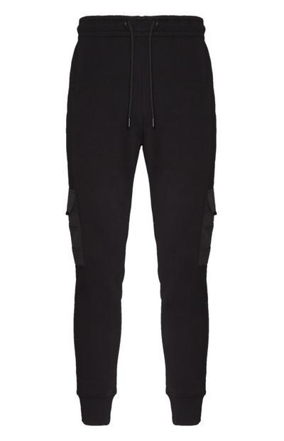 Schwarze Jogginghose mit Cargotaschen