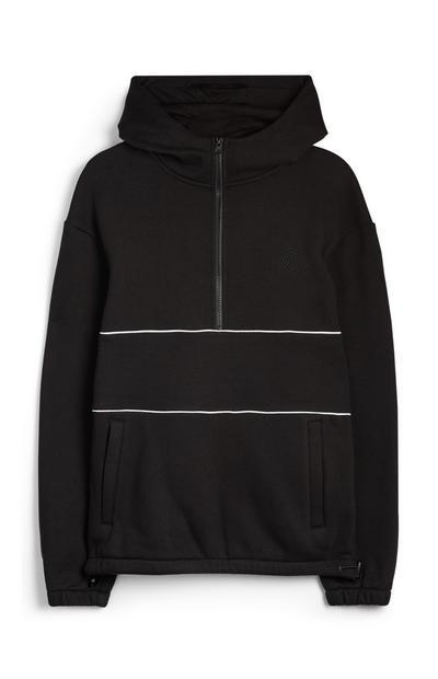 Black Half Zipped Hoodie