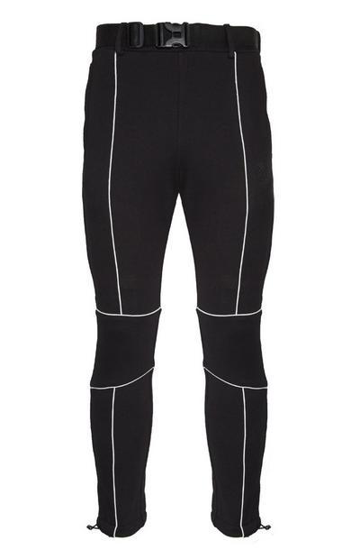 Pantalón de chándal con ribetes blanco y negro con cinturón