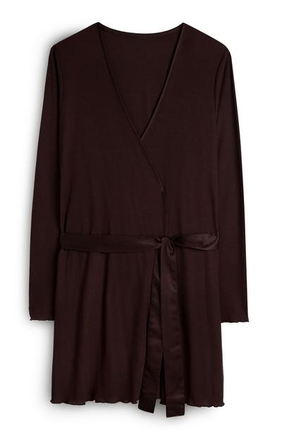 Brown Jersey Robe With Satin Tie