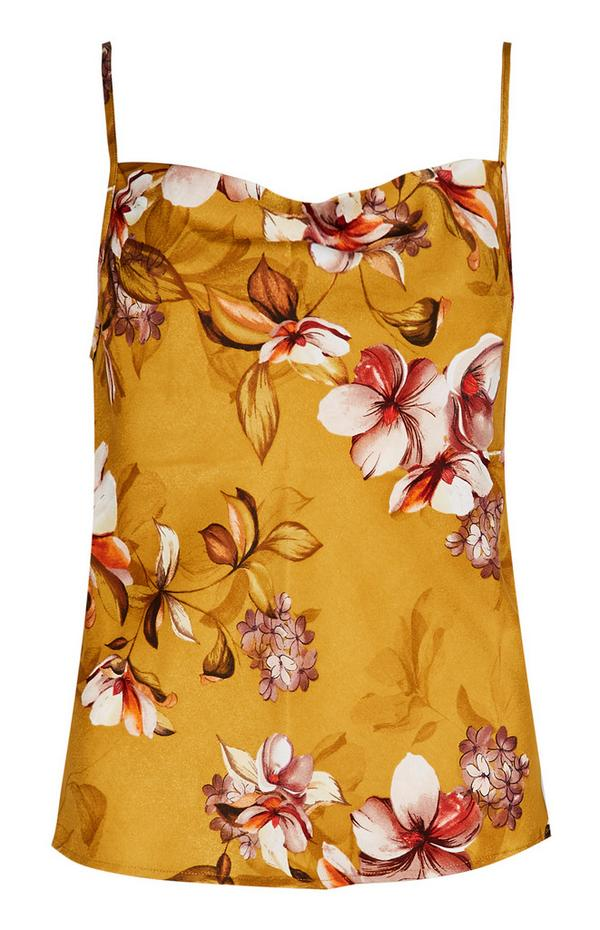 Senfgelbes Satin-Pyjamaträgertop mit Blumenmuster