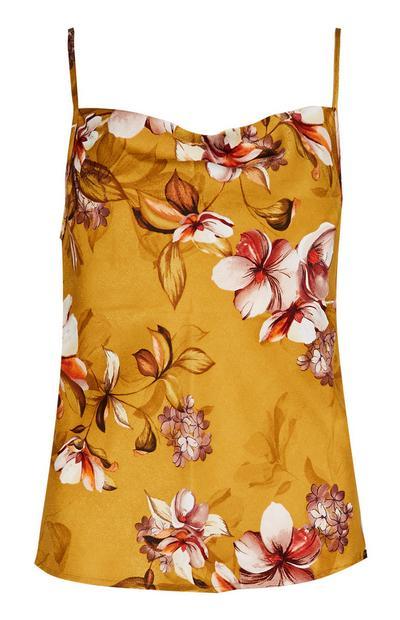 Mustard Floral Satin Pyjama Cami Top