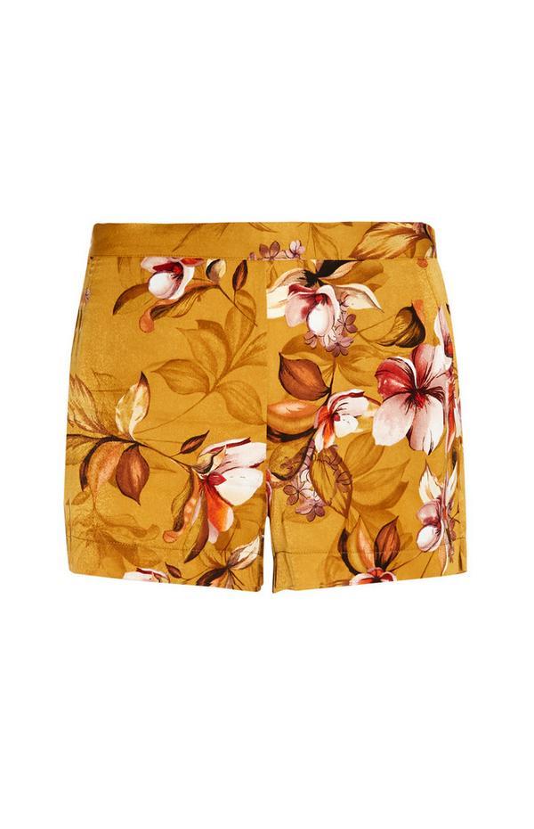 Senffarbene Satin-Pyjamashorts mit Blumenmuster