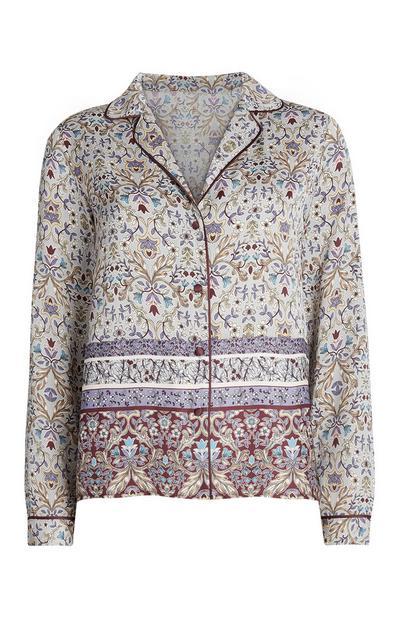 Multi Print Floral Pyjama Shirt