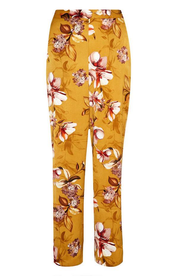 Mosterdgele gebloemde satijnen pyjamabroek