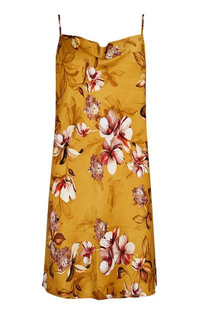 Camisa dormir alças cetim padrão floral mostarda